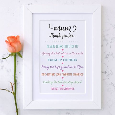 Personalised Thank You Mum Mothers Day Print